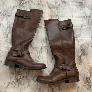 G by Guess Tall Calf High Brown Riding Boots